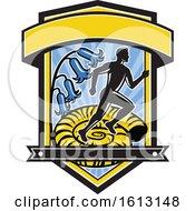 Poster, Art Print Of Marathon Runner Over An Ammonite With Bluebells