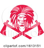 Native American Indian Wearing Headdress With Crossed Tomahawks