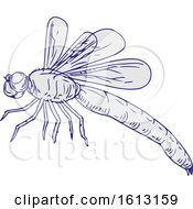 Poster, Art Print Of Dragonfly Flying Drawing Side