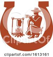 Cowboy Drinking Coffee Beside Campfire Set Inside Horseshoe by patrimonio