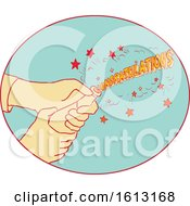 Poster, Art Print Of Congratulations Hand Popping Champagne Drawing