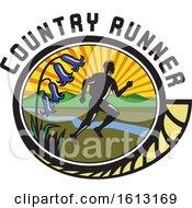 Poster, Art Print Of Cross Country Marathon Runner And Bluebell Flowers