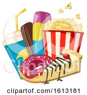 Clipart Of A Popcorn Bucket With Soda And Sweets Royalty Free Vector Illustration