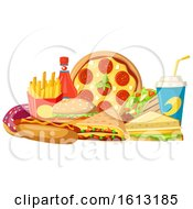 Clipart Of A Soda And Food Royalty Free Vector Illustration