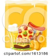Clipart Of A Beer And Food Royalty Free Vector Illustration
