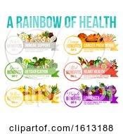 Rainbow Of Health Showing Colorful Produce