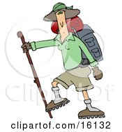 Slender And Fit Woman Using A Hiking Stick And Carrying Camping Gear While Tackling A Tough Trail