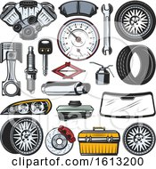 Clipart Of Automotive Designs Royalty Free Vector Illustration