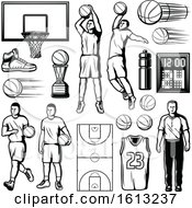 Poster, Art Print Of Black And White Basketball Designs