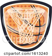 Clipart Of A Basketball Shield Design Royalty Free Vector Illustration