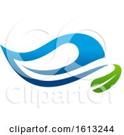 Poster, Art Print Of Green And Blue Water Leaf Organic Natural Design