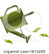 Green Watering Can And Leaves