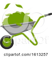 Clipart Of A Wheelbarrow And Green Leaves Royalty Free Vector Illustration by Vector Tradition SM