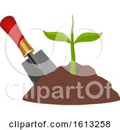 Clipart Of A Hand Shovel And Seedling Plant Royalty Free Vector Illustration by Vector Tradition SM