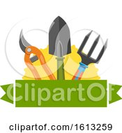 Clipart Of A Banner And Gardening Tools Royalty Free Vector Illustration