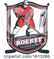 Clipart Of A Hockey Sports Shield Design Royalty Free Vector Illustration