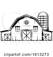 Clipart Of A Black And White Barn And Silo Royalty Free Vector Illustration