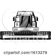 Clipart Of A Black And White Farm Tractor Royalty Free Vector Illustration