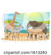 Clipart Of Safari Animals Royalty Free Vector Illustration by Vector Tradition SM