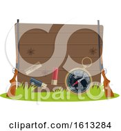 Clipart Of A Wooden Hunting Sign With Gear Royalty Free Vector Illustration
