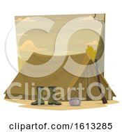 Clipart Of A Tent With A Hunting Rifle Royalty Free Vector Illustration