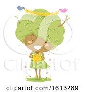 Kid Girl Tree Flowers Birds Illustration