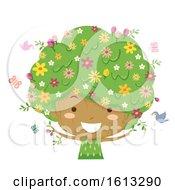Kid Girl Tree Season Spring Illustration