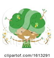 Kid Girl Tree Season Summer Illustration