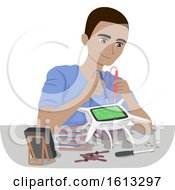 Teen Boy Repair Drone Multi Tester Illustration
