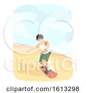Teen Boy Sand Boarding Illustration