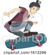 Teen Boy Skateboard Video Illustration
