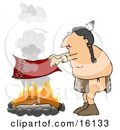 Male Native American Indian Flapping A Blanket Above A Fire To Make A Smoke Signal Clipart Illustration
