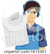 Teen Boy Woodworking Paper Illustration