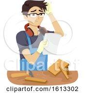 Poster, Art Print Of Teen Boy Woodworking Problem Illustration