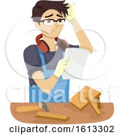 Teen Boy Woodworking Problem Illustration