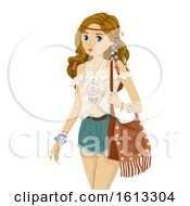 Teen Girl Bohemian Fashion Illustration
