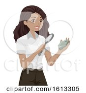 Teen Girl Geologist Observe Rock Illustration