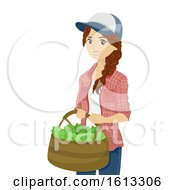 Teen Girl Harvest Greens Basket Illustration