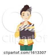 Teen Girl Hold Clapper Illustration