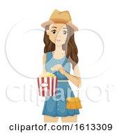 Teen Girl Popcorn Illustration