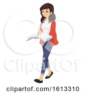Poster, Art Print Of Teen Girl Read Book Walk Illustration