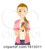 Teen Girl Reporter Illustration