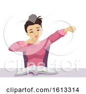 Teen Girl Tired Yawn Book Illustration