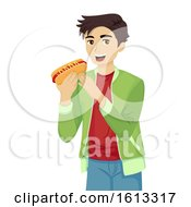 Teen Guy Hotdog Illustration