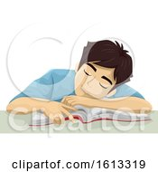 Poster, Art Print Of Teen Guy Sleep Book Illustration