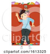 Poster, Art Print Of Teen Girl Fat Food Hoarder Cabinet Illustration
