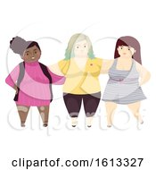 Girls Fat Positivity Friends Illustration