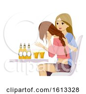 Teen Girls Drinking Problem Cry Illustration