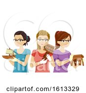 Poster, Art Print Of Teen Girls Woodworking Projects Illustration