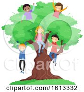 Stickman Teens Big Tree Illustration